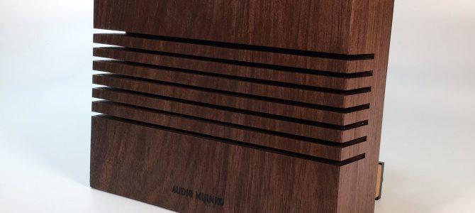 ウォルナット無垢材をモノラルスピーカーに加工